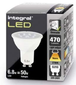 Dimmable GU10 LED Spotlight Bulb | 50 - 60W Equivalent |  470 lumen | Warm White| INTEGRAL